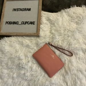Coach Leather Wristlet Pink